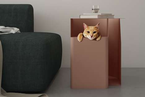 Feline Hiding Spot Tables - The 'THEN' Side Table Offers Storage Space for Essentials and Cats