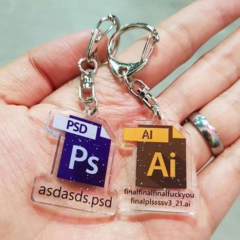 Graphic Design-Inspired Keychains - These Adobe Keychains by Yu Xin are Hilariously Relatable