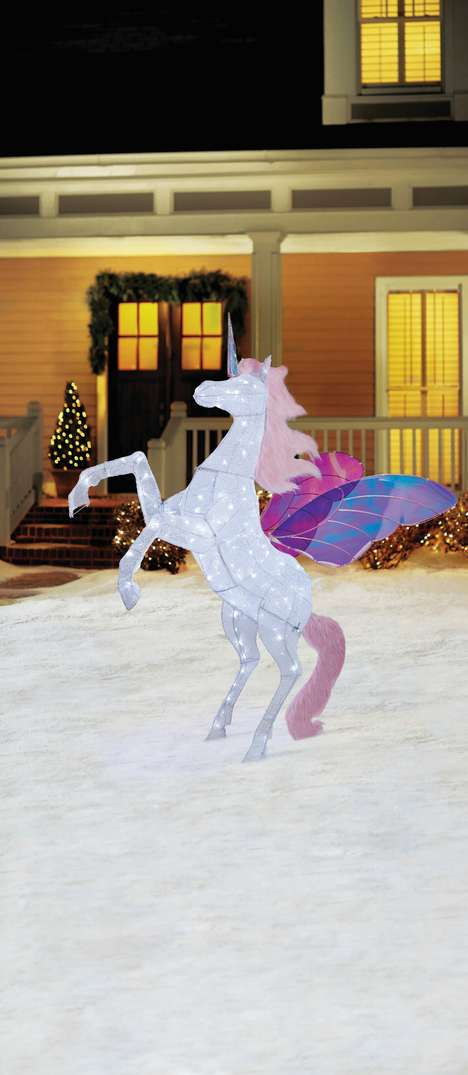 Whimsical Holiday Sculptures - Home Depot's LED Twinkle Unicorn Christmas Decoration is Fantastical