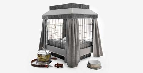 Ultra-Luxe Upholstered Dog Kennels - The Haberdashery Haven Lets Dogs Lie in Lavish Surroundings