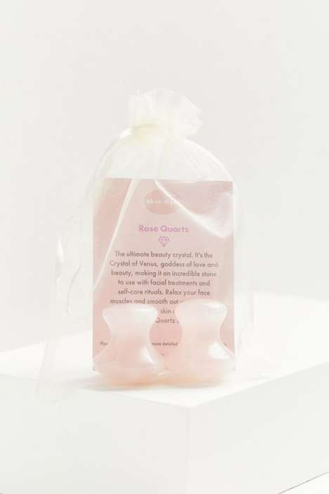 Carved Crystal Eye Massagers - Skin Gym's 'Rose Quartz Eye Flowies Treatment' Soothes & Brightens