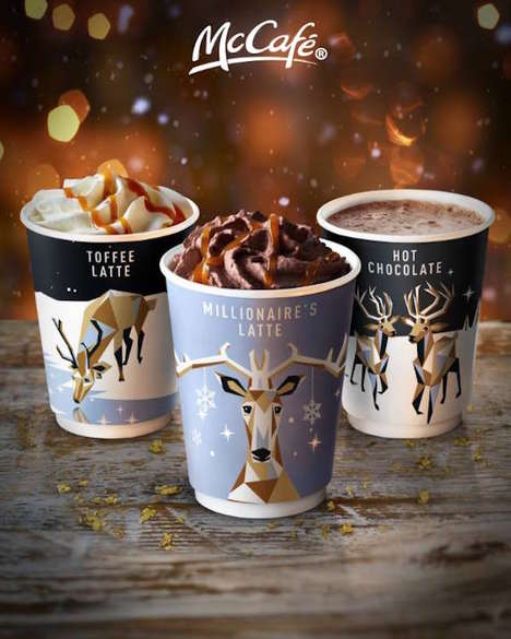 Reindeer Holiday Cup Designs - McDonald's McCafé Boasts a Selection of Festively Cheerful Cups