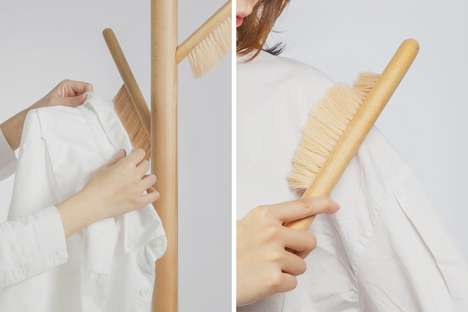 Brush-Integrated Coat Racks - The 'Brush' Coat Rack Stores and Cleans Garments