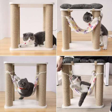 Feline-Friendly Seating Solutions - The Lzttyee Scratching Post Stool Entertains Cats as You Work