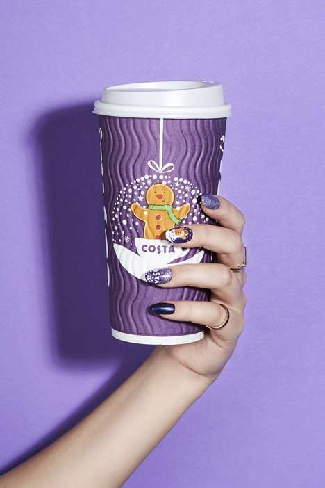 Branded Christmas Manicures - Costa Designed Festive Manicures to Match Its Colorful Seasonal Cups