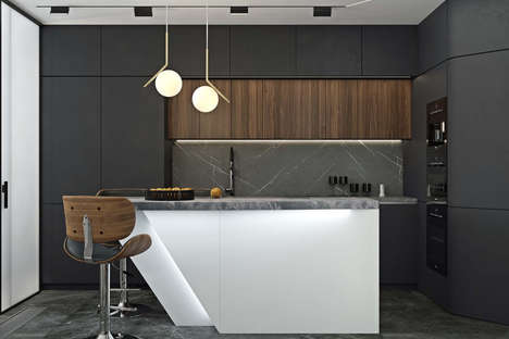 Darkly Furnished Moscow Apartments - Geometrium's 'Novoe Tushino' Residence is Luxe & Sophisticated