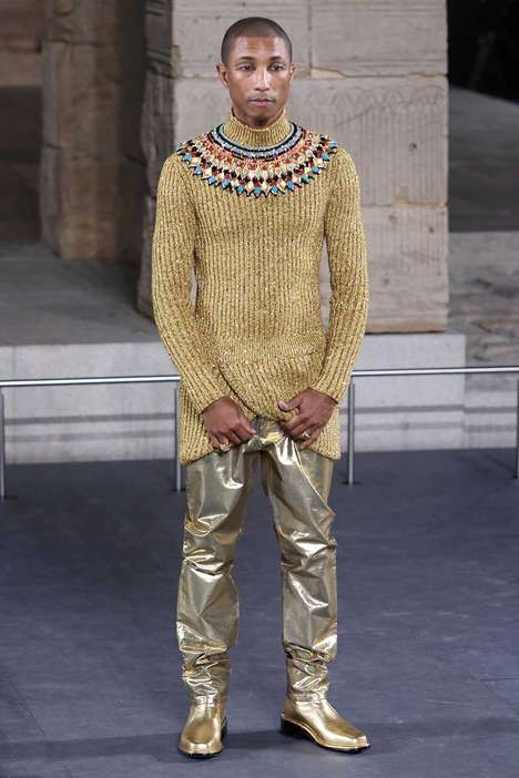 Egyptian-Inspired High Fashion Runways - Pharrell Williams Models in Chanel's Métiers d'Art Show