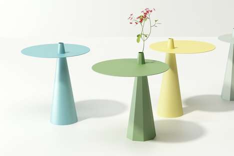 Off-Kilter Vase-Integrated Tables - The 'Pinji' Table Shifts the Center of Gravity into the Base