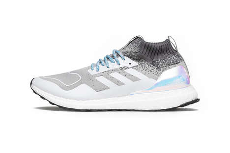 Iridescent Metallic Knit Sneakers - The Light Granite UltraBoost Sneakers Boast a Bright Heel