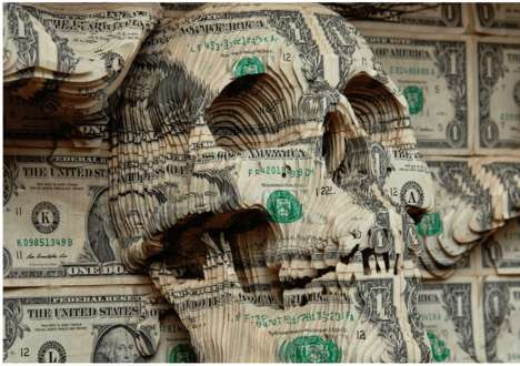 Carved Currency Sculptures - Scott Campbell's Inaugural Exhibit in Asia Features Skull Sculptures
