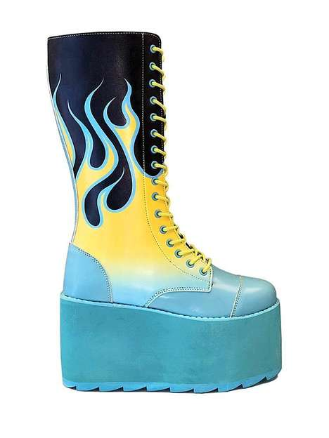 Flame-Accented Rocker Footwear - YRU's Pastel Platform Boot is an Homage to Glam Rock Fashion
