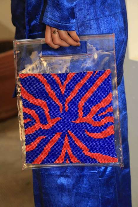 Hand-Beaded Transparent Shoppers