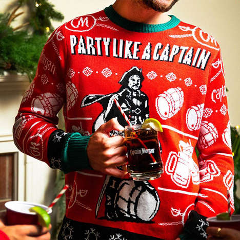 Festively Branded Rum Sweaters - The Captain Morgan Captain Holiday Sweater is Expertly Crafted
