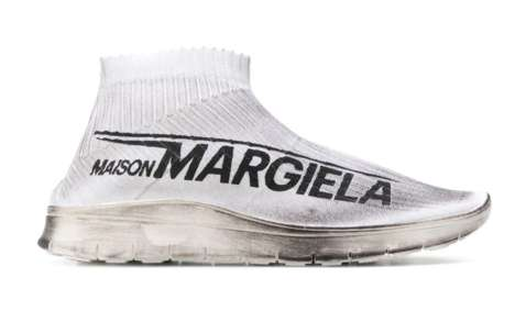 Luxe Dirty Sock-Like Shoes - Maison Margiela's New Shoe Highlights Large Logos at The Uppers