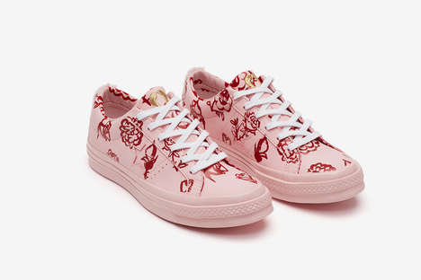 Fur-Heeled Screen-Printed Sneakers - Shrimps & Converse's Fur-Clad Collection Explores Bright Prints