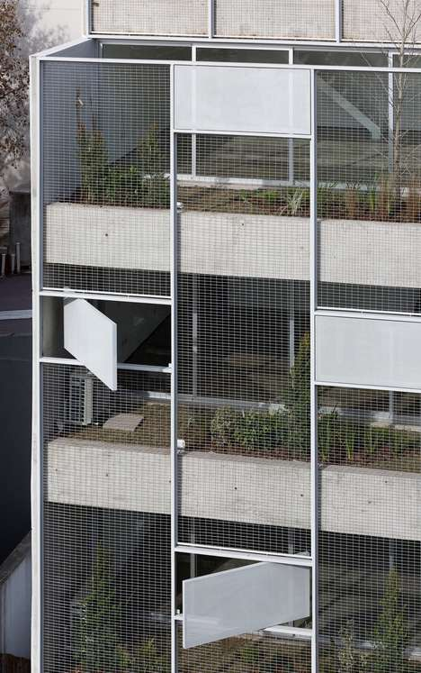 Meshed Concrete Tower Designs - Adamo-Faiden's Tower in Buenos Aires Boasts Enclosed Gardens