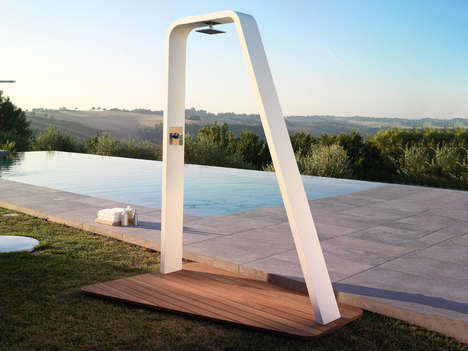 Artistically Arched Outdoor Showers
