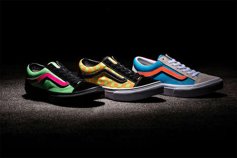 Neon-Accented Canvas Sneakers