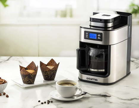 Grinder-Integrated Coffee Makers - The Gourmia GCM4700 Coffee Maker Handles Whole Beans