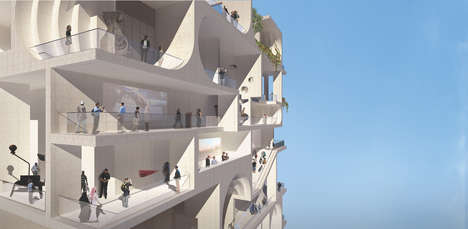 Hybrid Sculptural Balconies - The Beirut Museum of Art by WorkacWORKac Has an Interesting Aesthetic.