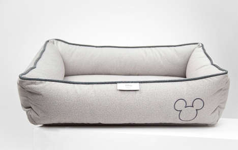 Celebratory Cartoon Dog Beds - The Max Bone Mickey Mouse Embroidered Dog Bed is Subtle and Comfy