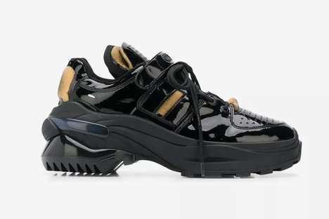 Laminated Leather Luxe Shoes - Maison Margiela's Retro Fit Sneakers Boast Shiny and Chunky Elements
