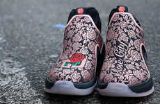 Rose-Embroidered High-Top Sneakers