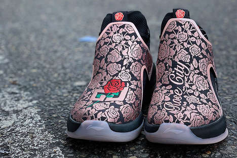 Rose-Embroidered High-Top Sneakers - C.J. McCollum Drops a Rose City Iteration of the YuShuai 2 Shoe