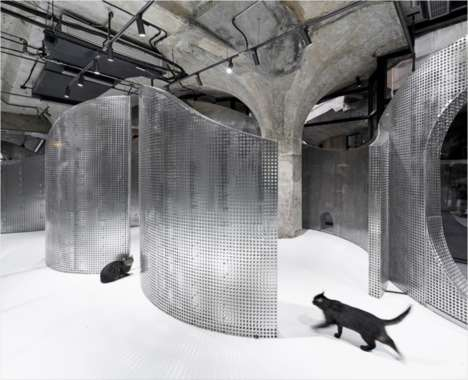 Sculptural Metallic Pet Shops - This Modern Pet Shop in China Repurposes an Old Slaughterhouse
