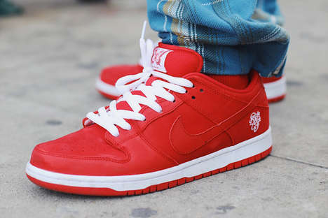 Red Leather Padded Sneakers