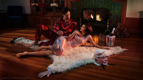QSR Mascot Rugs - KFC Created a Quirky Limited-Edition Faux Fur Rug for Valentine's Day