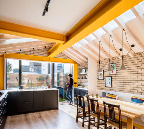 Yellow-Accented Terraced Home Extensions
