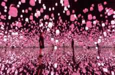 Responsive Cherry Blossom Installations - Forest of Resonating Lamps Glows Pink for Cherry Blossoms