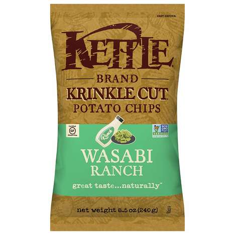 Spicy Ranch Dressing Chips - Kettle's Wasabi Ranch Krinkle Cut Chips are Simultaneously Spicy & Cool