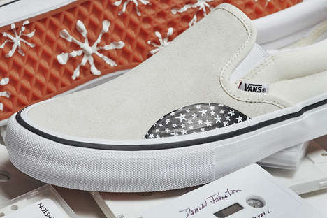 White Doodle-Adorned Sneakers