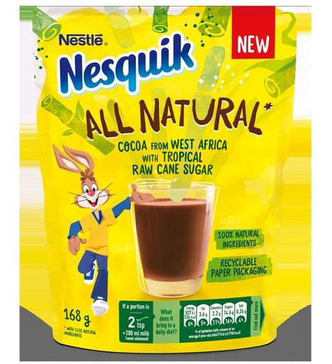 Cane Sugar Cocoa Mixes - The Nestlé Nesquik All Natural Comes in Recyclable Paper Packaging