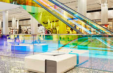 Striking Iridescent Glass Escalators - OMA Adds an Attention-Captivating Detail to Saks Fifth Avenue