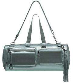 Unisex Luxury Handbag - Dior Homme Delville Silver Leather Duffle (Man Purse + Purse)