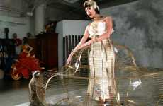 Caged Dresses - The Birdcage Dress is a Fully Functional Wearable Brass Bird Cage