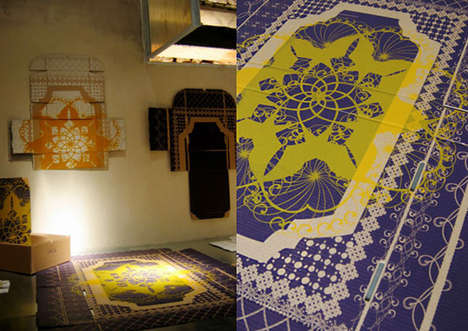 Cardboard Carpets - Ravishing Recycled Rugs Made of Flattened Boxes by Wendy Plomp