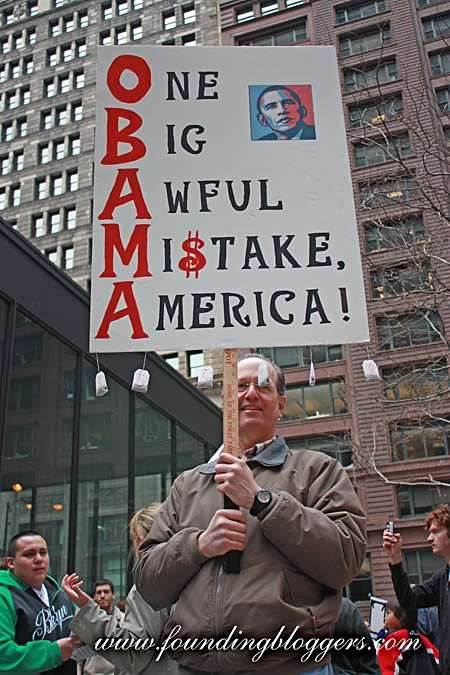 Protest Poster Mania - Vehement Tax Day Tea Party Signs in Chicago Bash Barack Obama
