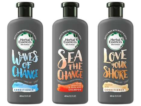 Beach Plastic Haircare Bottles - Herbal Essences Created Packaging Made with 25% Beach Plastic