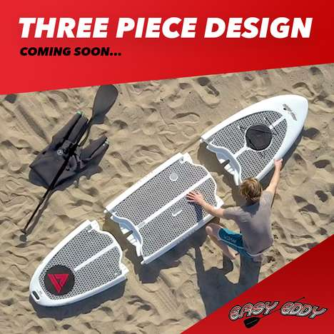 Modular Paddle Board Designs - Easy Eddy is Offered in Three Easy-to-Assemble Pieces
