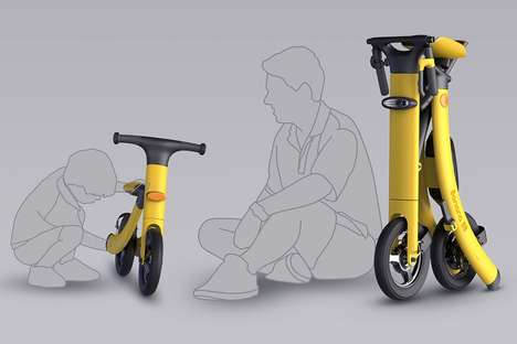 Folding Generational Scooters - The Conceptual 'Banana 88' Bicycles are for a Parent and Child