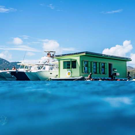 Isolated Ocean Taco Bars - Lime Out VI is a Floating Taco Bar in the Caribbean