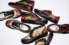 Floral-Print Leather Lined Shoes