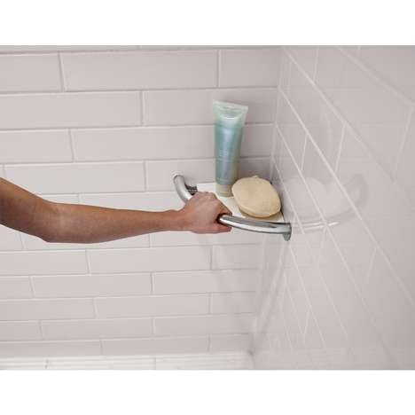 Incredibly Discreet Grab Bars - The Delta DF702PC Hides the Conventional Grab Bar with a Shelf