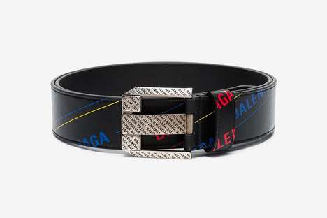 Luxe Leather Printed Belts - Balenciaga's Logo Print Leather Belt Celebrates Its Own Logo Accent