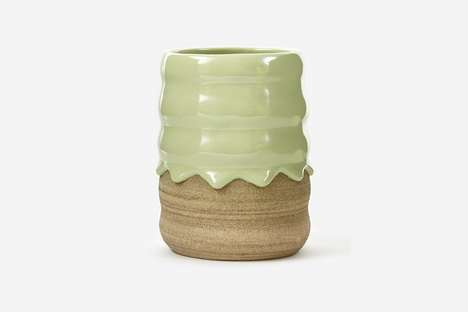 Drip-Textured Ceramic Pots