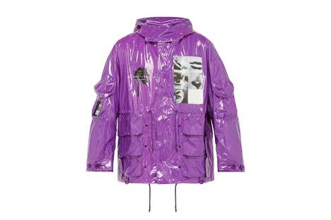Glossy Graphic Spring Jackets - UNDERCOVER's Pixelated Graphic Vinyl Parka Features Bold Visuals